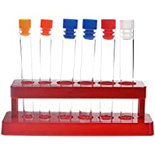 TEKEFT Set of 6 Assorted Color Plastic Test Tube Set with Caps and Rack Scientific Experiment Toys for Children
