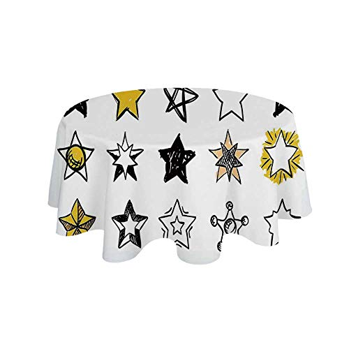 YOLIYANA Star Waterproof Round Tablecloth,Sweet Sixteen Stars Hand Drawn Style Colorful Art Rock Punk Themed Teen Room Design for Living Room,39.3