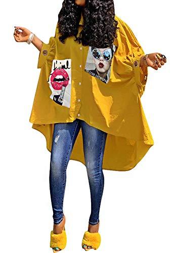 Women Summer Plus Size Boyfriend Button Down Casual Longline Shirt Dress Oversized Short Batwing Sleeve Rhinestone Sequin Letter Graphic Print Tunic Tee Shirt Dress Yellow, Medium
