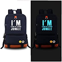 Luminous in Dark Canvas Daypack Backpack Students School Bag with LOL ADC APC JUNGLE MID SUP TOP Whole Team Role Players Symbol Uniform Accessories(blue)