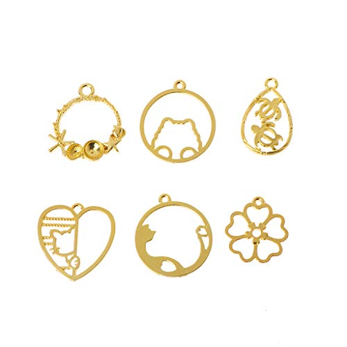 SprinZ 6Pcs Cat Flower Frame Pendant Open Bezel Blank Setting UV Resin Jewelry Charms -