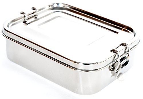 Stainless Steel Lunch Box Food Container by Meal Prep Crew | Airtight & Leakproof Lid With Ergo Clasps, Elegant Design | For Weight Watchers, Dieting, Healthy Eating, Portion Control & More