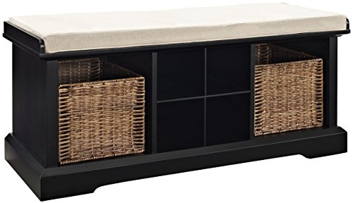 Crosley Furniture Brennan Entryway Storage Bench with Wicker Baskets and Cushion - Black