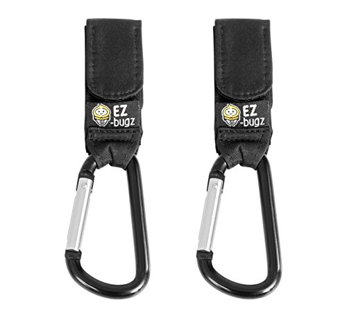 EZ-Bugz Buggy Clips. Hook your shopping & bags safely on your Stroller, Pushchair or Pram. Universal fit, Black, 2 pack