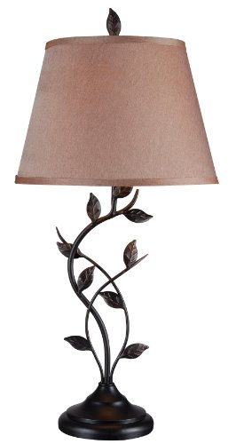 Kenroy Home Vine Table Lamp, 31 Inch Height, Oil Rubbed Bronze Finish, 15 Inch Gold Tapered Shade