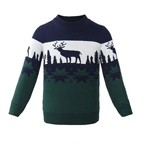 ReliBeauty Kids Christmas Reindeer Pullover Sweater (4T-4, (Jewel Neck Ribbed Sweater)