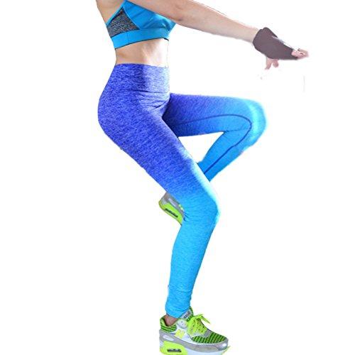 Laixing 4 Color Women's Sports Pantalones Yoga Leggings Workout Pant Running Pant Blue