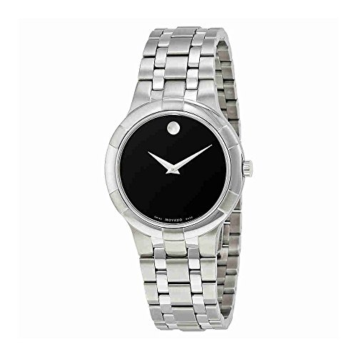 Movado Metio Black Dial Stainless Steel Mens Watch 0606203 (Mens Black Movado Watch)