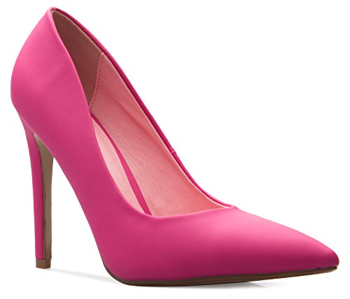 Women's Classic OLIVIA Pu Comfortable Heel Stiletto High Casual Toe D'Orsay Closed K True Pump Hotpink FTTqfw5