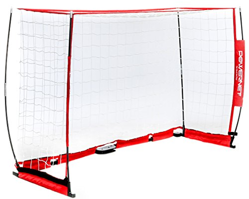 PowerNet Futsal Goal 3m x 2m | Regulation Goal Size | Portable Instant Net | Collapsible Steel Base | Durable Bow Vertical Posts | Quick Setup Easy Storage | 1 Goal+1 Zipper Carrying Bag | Full Size - Futsal Goal Nets