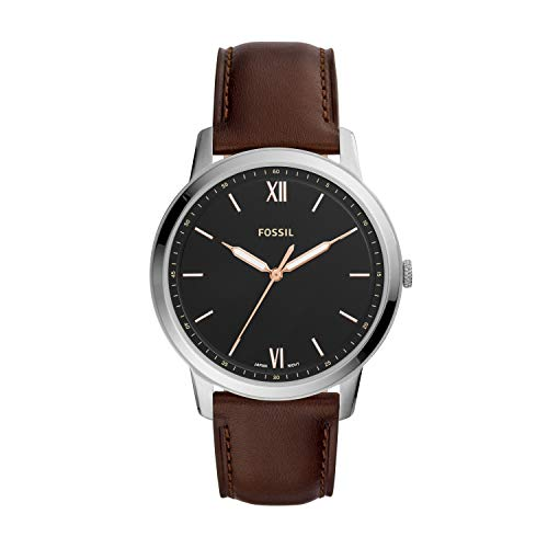Fossil Men's 'The Minimalist 3H' Quartz Stainless Steel and Leather Casual Watch, Color:Brown (Model: FS5464