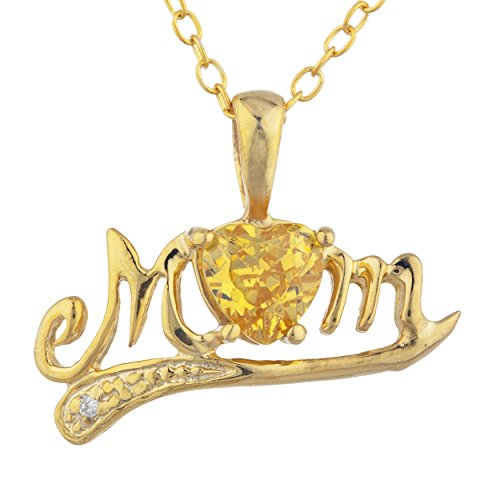 Prong Citrine Necklace Diamond - 14Kt Gold Yellow Citrine & Diamond Heart Mom Pendant Necklace
