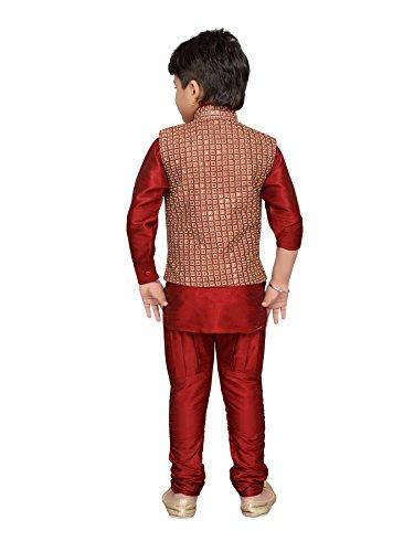 AJ Dezines Kids Indian Wear Bollywood Style Kurta Pyjama Waistcoat for Boys (617-MAROON-7) by AJ Dezines (Image #2)