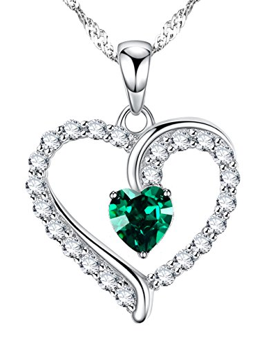 Love Heart Jewelry Gifts for Wife for Women Created Green Emerald Pendant Necklace Birthday for Her for Daughter for Girlfriend Sterling Silver Charm,18