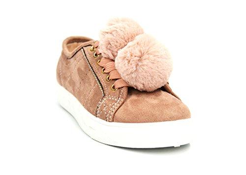 SHY38 * Baskets Basses Tennis Sneakers Effet Daim Uni avec Pompons Boule Fourrure - Mode Femme (Rose)