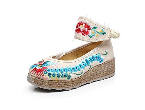 tendine suola scarpe LTQ new comodo meters stile ricamate scarpe casual biancheria etnico moda white amp;QING femminili del aumento Bw0pwXqn