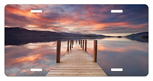 zaeshe3536658 Landscape License Plate, A Flooded Jetty In Derwent Water Lake District England Sunset Morning Photo, High Gloss Aluminum Novelty Plate, 6 X 12 Inches. grey by zaeshe3536658
