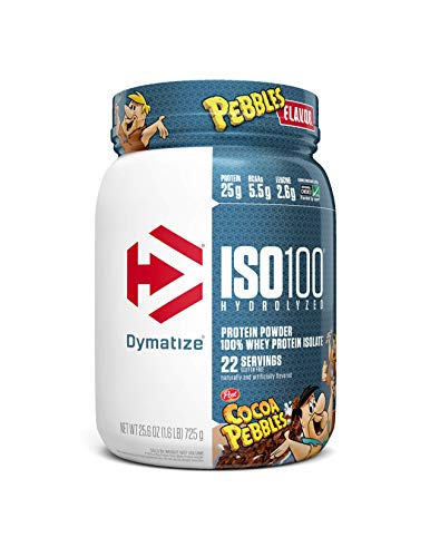 Dymatize ISO100 Hydrolyzed Protein Powder, 100% Whey Isolate Protein, 25g of Protein, 5.5g BCAAs, Gluten Free, Fast Absorbing, Easy Digesting, Cocoa Pebbles, 1.6 Pound