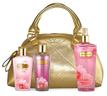 77b1b7221ab9 Image Unavailable. Image not available for. Color  Victoria s Secret Sheer  Love 3 Pieces Deluxe Gift Set with Gold Tote Bag