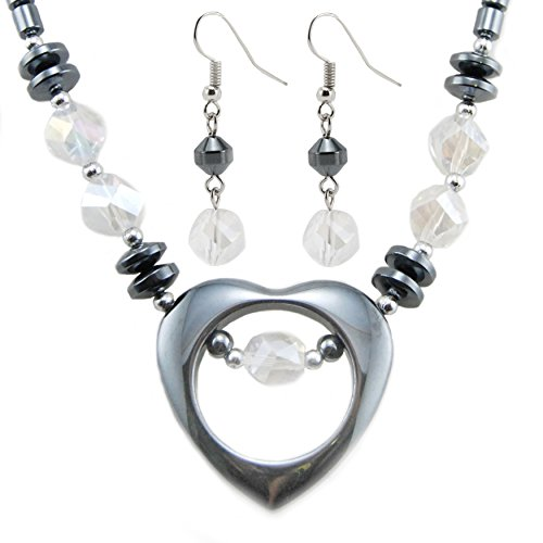 Heart Pendant with Plastic Crystal Beads Hematite Necklace/Earring Set (Hematite Necklace And Earring Set)