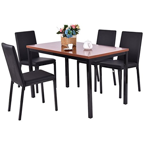 Tangkula 5 PCS Dining Table Set 4 PU Leather Chairs Home Kitchen Breakfast Furniture