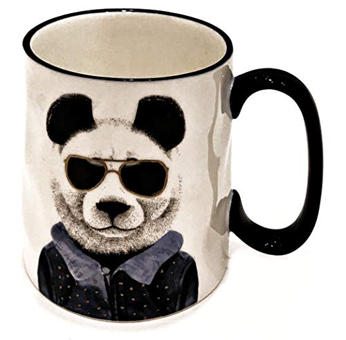 Hipster Animal Stoneware Coffee Mugs by Signature | PANDA BEAR with Sun ()
