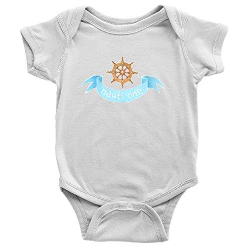 White Sailor Dog Shirt (Nautical Baby Clothes Bodysuits for Boys Girls Newborn to 24 Months - Nauti One (White, Newborn))