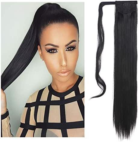 SARLA Straight Long Ponytail Hair Extension Clip in Wrap Around Synthetic Black Fake Pony Tail Hairpiecs Hair Piece For Women Heat-Resisting Fiber 24