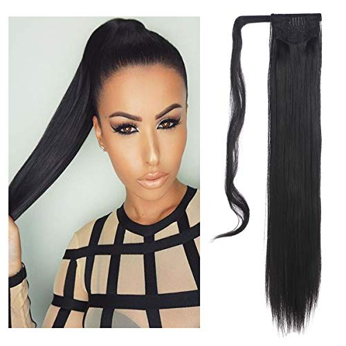 - SARLA Straight Long Ponytail Hair Extension Clip in Wrap Around Synthetic Black Fake Pony Tail Hairpiecs Hair Piece For Women Heat-Resisting Fiber 24