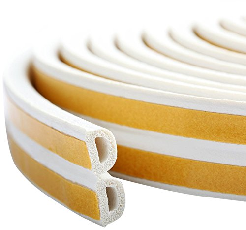 PRUGNA 20Ft Door Seal Weather Stripping, Window Rubber Seal Strip Self Adhesive Foam Tape for Door Window Gap and Wind Blocker, 3/8-Inch x 1/4-Inch x 20-Feet, 2 Tapes (White)