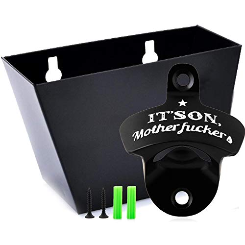 Wall Mount Beer Soda Bottle Opener Set with Mounted Removable Cap Catcher Bin, Free Mounting Hardware Included, Metal Combo Pack (its On Motherfuckers)