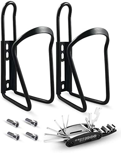 SRAMI Bike Water Bottle Holder Strong and Lightweight Bicycle Water Bottle Cage for MTB Road Bike with Multi Functional Repair Tool Kit 2 Pack