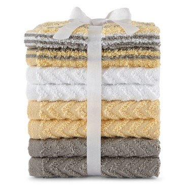 - Morgan Home Fashions 8-Pack 100% Cotton Washcloth Towel Set, Soft, Absorbent, Available in Multi and Solid Colors (Yellow)