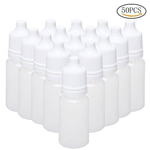 ofoen 50 Pieces Squeezable Dropper Bottles, White Translucent Plastic Eye...