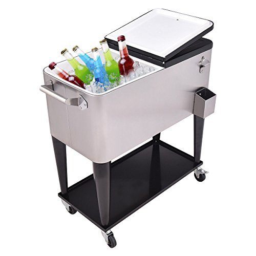 Giantex Patio Cooler Rolling Cart Outdoor Portable Stainless Steel Ice Beverage Chest Pool with Bottle Opener, 80 Quart by Giantex (Image #1)
