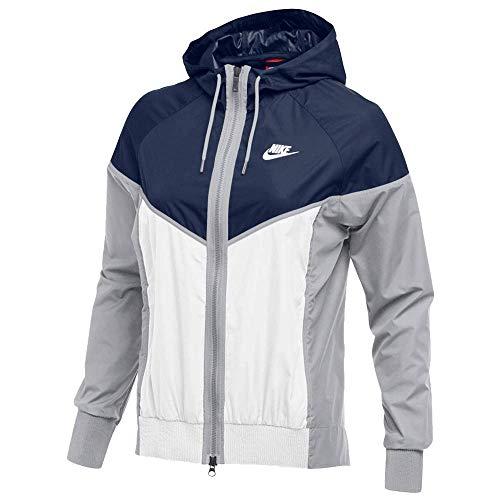 Nike Womens Wind Runner Full-Zip Jacket Navy/White/Wolf Grey Size Small