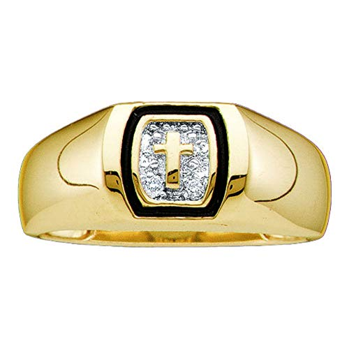 - 10kt Yellow Gold Mens Round Diamond Christian Cross Band Ring .01 Cttw