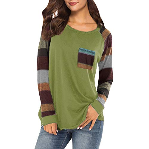 Malbaba Blouse for Women,Stripe Sleeve Patchwork T-Shirt Casual Loose Long Sleeve Top ()
