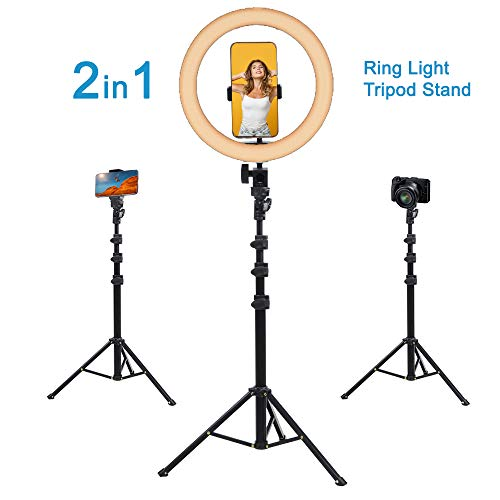"""Fugetek 10"""" Selfie Ring Light Tripod & Kit, Phone Holder, Bluetooth Remote, Compatible with iPhone & Android, 3 Color Modes, Live Stream, Photos, Makeup, Lightweight Aluminum Stand, USB Powered"""