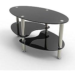 UEnjoy Table basse Table de salon en verre ovale noir avec pieds chromés