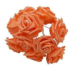 entertainment-moment 10 Heads 8Cm New Colorful Artificial Pe Foam Rose Flowers Bride Bouquet Home Wedding Decor Scrapbooking DIY Supplies,Orange 70