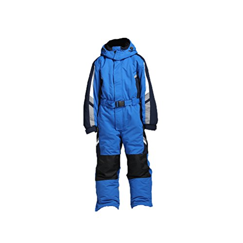 PRESELF@ One-Piece Winter Snowsuit for Boys Girls Waterproof Windproof Wear-Resistant Reflective Stripe (Blue, 12) - One Piece Insulated Ski Suit