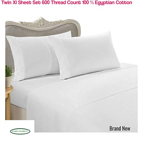 PLUSHY COMFORT 600 Thread Count, Twin Extra Long, Sheet Set, White, in 100 Percent Luxury Egyptian Cotton, Twin Extra Long Sheet Set