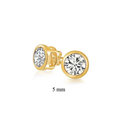Mens Gold Plated Bezel Set Round Cut CZ Stud Earrings 5mm