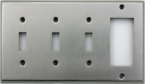 Classic Accents Stamped Steel Satin Nickel Four Gang Wall Plate - Three Toggle Light Switch Openings One GFI/Rocker Opening