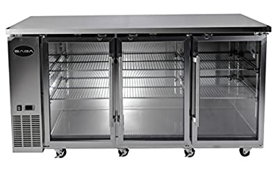 """UBB-24-72GS 72"""" Narrow Glass Door Stainless Steel Back Bar Cooler with LED Lighting"""