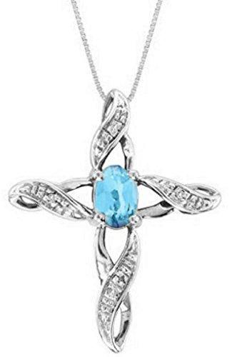 Diamond & Blue Topaz Cross Pendant 14K Yellow Gold or 14K White Gold