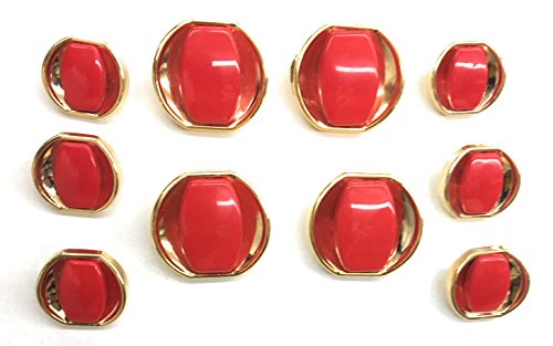 11 Polished Gold/Red Buttons Sets ~ Plated -