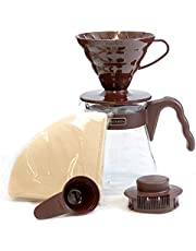 Hario V60 Size 02 Pour Over Starter Set with Dripper, Glass Server, Scoop and Filters, Brown