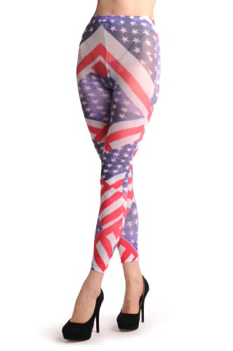 American Flag Footless - Multicolore Collant Sans Pied (Leggings) Taille Unique (34-40)
